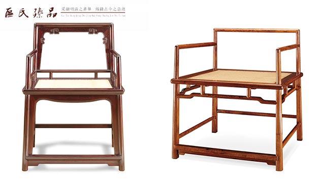 玫瑰椅的四个腿呈梯形,坐板的侧边与腿足最外边,是在一条垂直面上的,这样用起来就会使椅子的结构往里收,越用越牢固(配图为区氏臻品玫瑰椅) 这一传递过程不仅决定了腿足、边抹、管脚枨、扶手为承重性构件,罗锅枨、矮老、牙板则为辅助性构件,还决定了禅椅的用材的基本比例关系,从大到小的次序为腿足、边抹厚度、管脚枨、扶手、罗锅枨等。其中小小相配之处,不用多言,一看便知,具体为罗锅枨、矮老、边抹之间的连接,正所谓多一分则闷,梢一分则空。  区氏臻品玫瑰椅细节图 至于大大相配之处则主要体现在承重材之间的连接,既有粗细