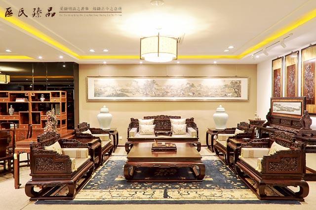 红木家具搭配中国风情的地毯